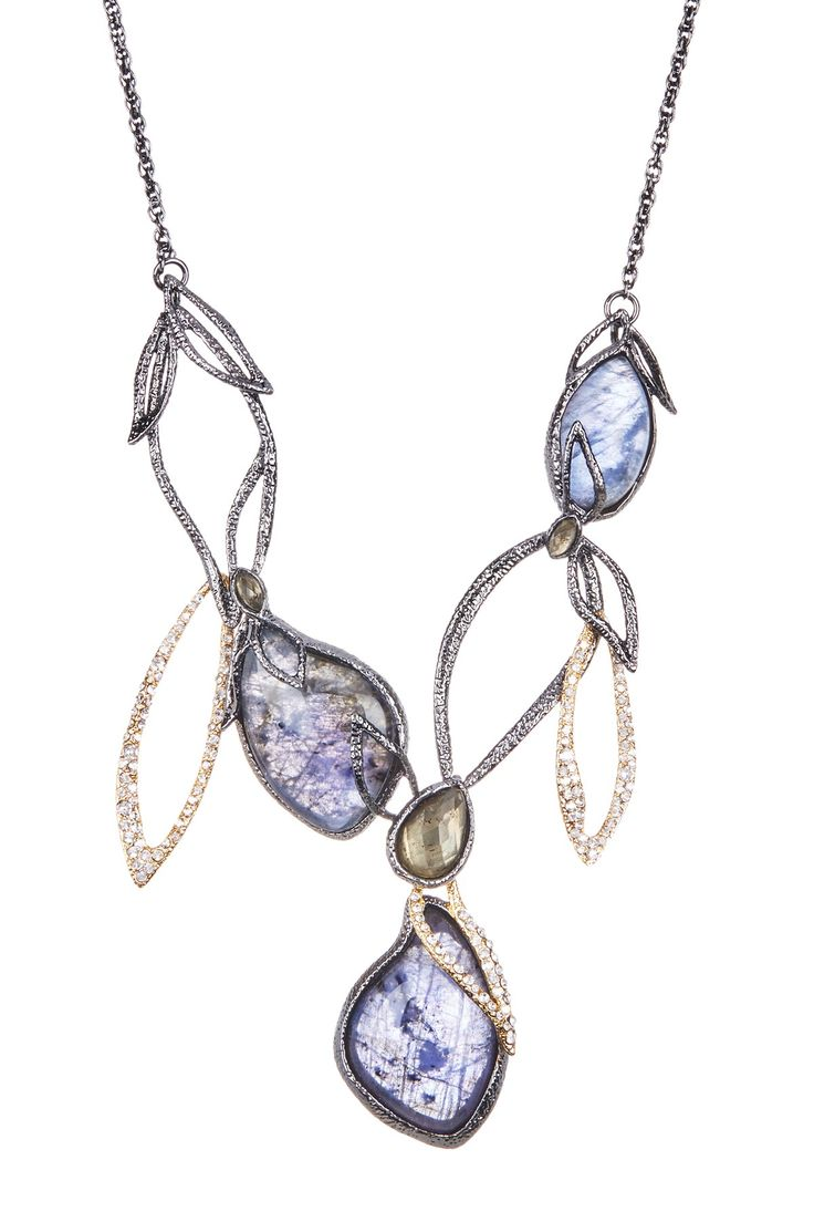 Elements Dark Iolite Crystal & Labradorite Link Bib Necklace by Alexis Bittar on @HauteLook