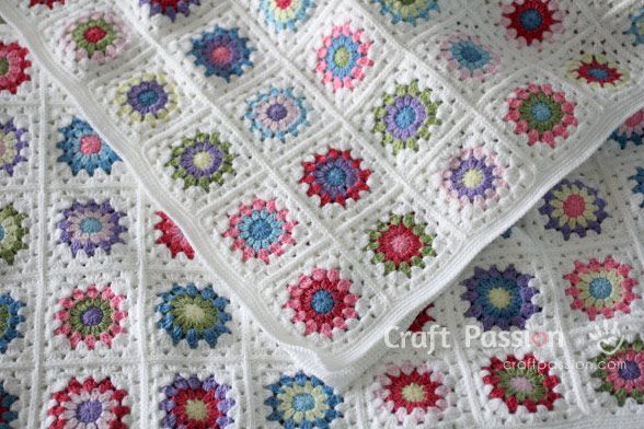 Get free pattern and tutorial on how to crochet a sunburst granny square blanket. Tips on storage and squares arrangement while working on it.