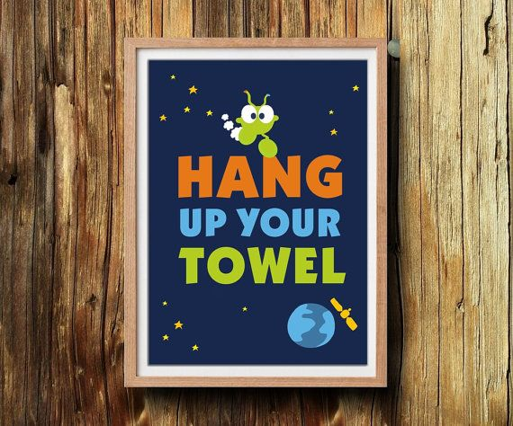Perfect kids reminder for your bathroom wall decor. Hang up your towel. Printable bathroom rules. This listing is for an 5'X7' instant download by ArtMii