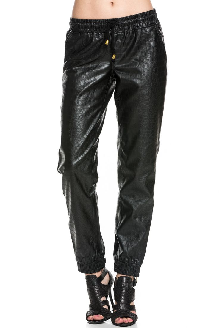 PU Crocodile Faux Leather Jogger Pants Black