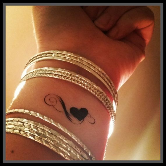 Heart fake tattoo infinity heart tattoo by SharonHArtDesigns