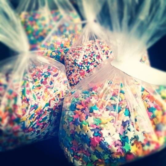 Throw sprinkles instead of rice!  How cute!
