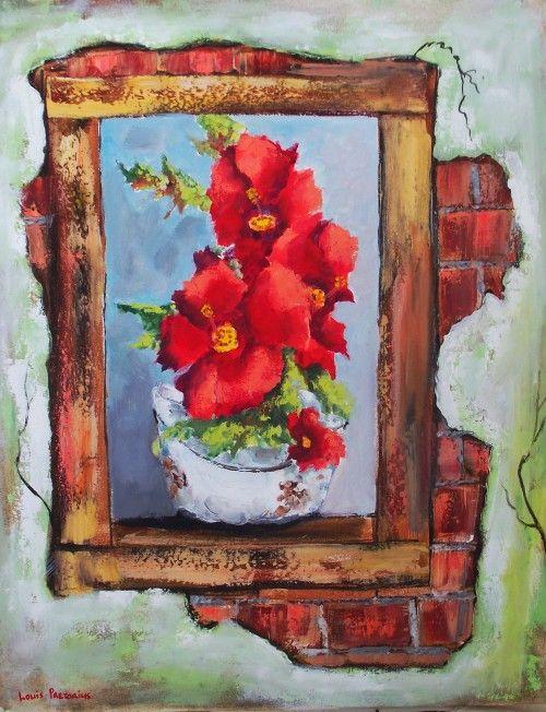 Flowers in a broken window