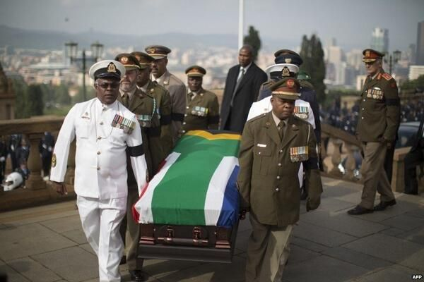 Nelson Mandela's coffin carried into Union Buildings, in Pretoria, for lying-in-state. Wednesday 11 December 2013