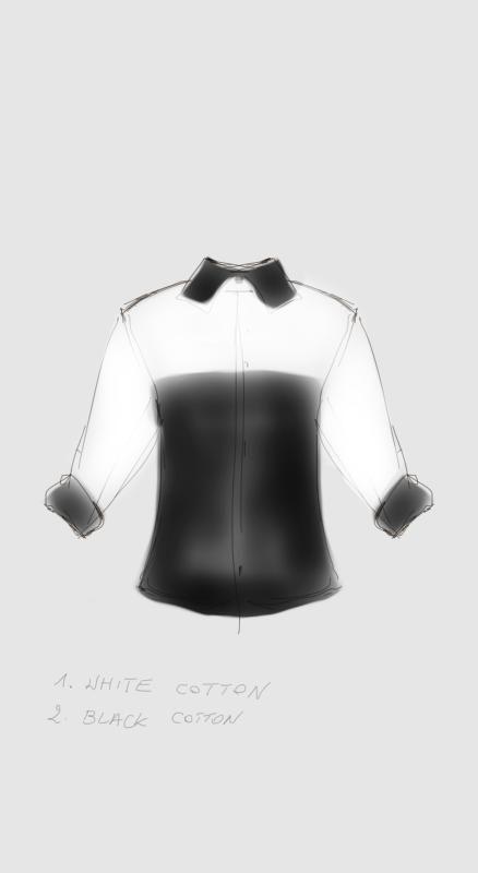 white/black shirt