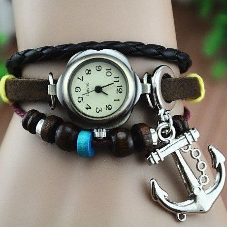MagicPiece Handmade Vintage Style Leather Watch For Women with Anchor Pendant: Watches: Amazon.com