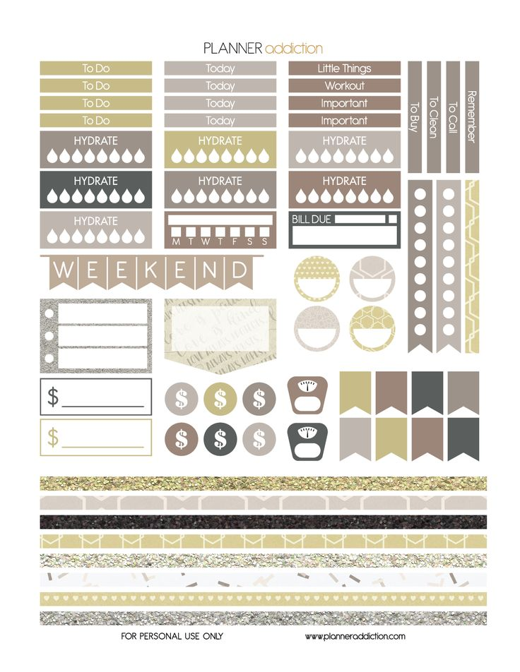 Free Printable Planner Stickers - Wedding - Large Happy Planner P2