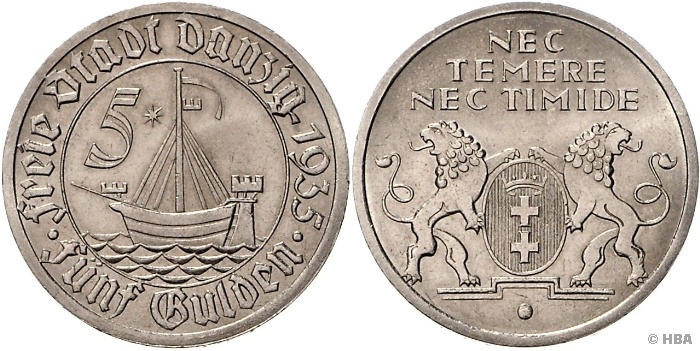 5 Gulden, Danziger Kogge, 1935 (A), vorzüglich-prägefrisch, neues Sachverständigengutachten Schobner beiliegend.  Dealer HBA  Auction Minimum Bid: 500.00 EUR:  Buckler
