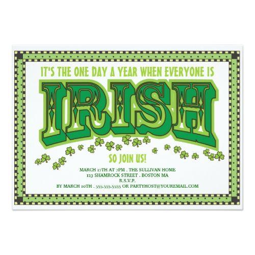 Everyone Is Irish St Patrick S Day Party Invitation