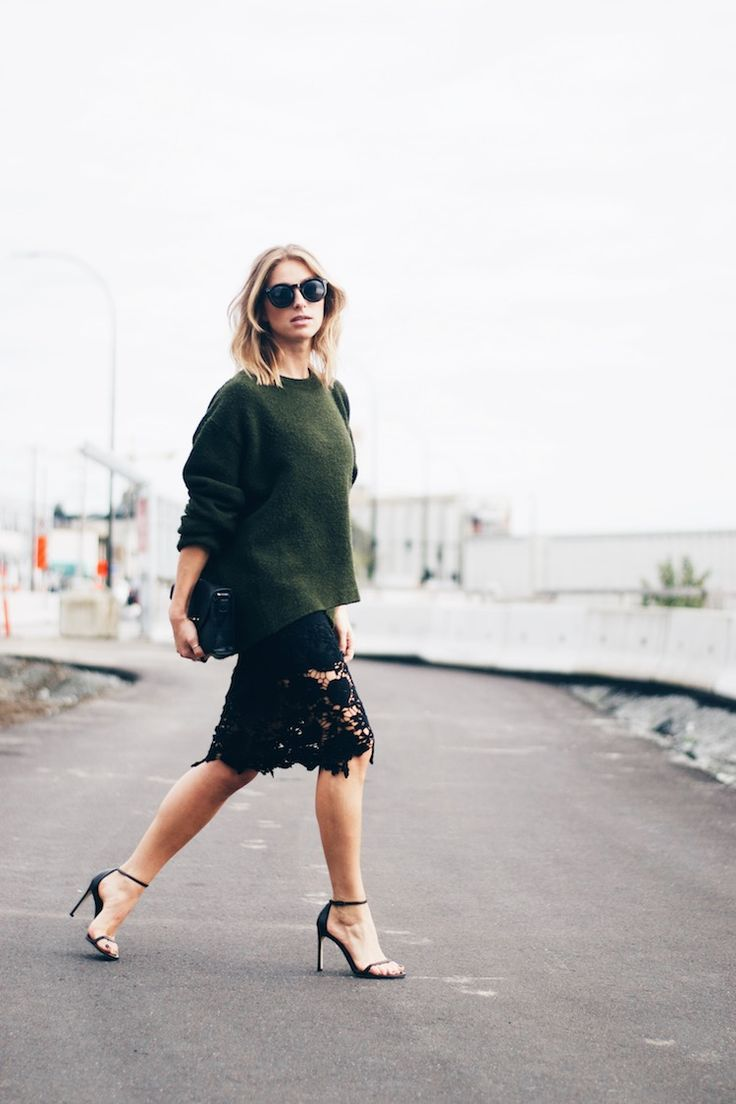 lace skirt pencil sexy chic euro going out look, hunter green sweater trend, stuart weitzman heels
