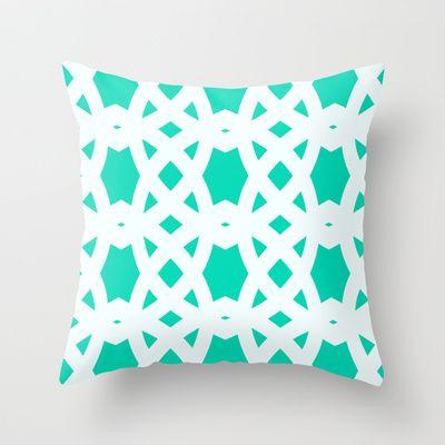 Arabic Lattice in Aqua Throw Pillow by House of Jennifer - $20.00