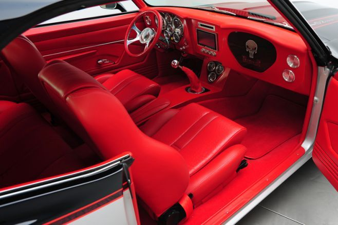 1969 chevrolet camaro ls2 550 hp punisher all red interior custom console silver red black grey. Black Bedroom Furniture Sets. Home Design Ideas