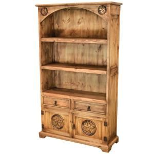 Three shelves, two drawers and a large carved star cabinet make this southwestern style bookcase essential for office, den, or library ...anywhere you need storage or display shelves. You can even use this in the kitchen to show off your decorative plates and to store linens. This very affordable and attractive piece of handmade furniture is topped off with a curved bonnet.