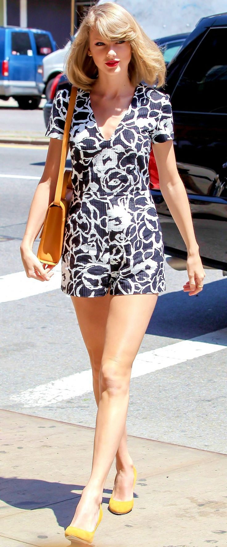 Taylor Swift ; Out and about, New York, May 2014 ; Suno romper, Gucci shoes & Anthropologie bag