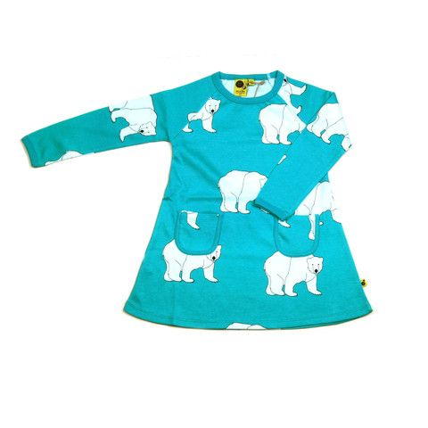 Krutter dress is great for any occasion.  It's certified Oeko-Tex 100% cotton.  The aqua blue dress has an original designer polar bear print with two pockets on the front. Made in Greece. Washes up brilliantly after party food $57.95