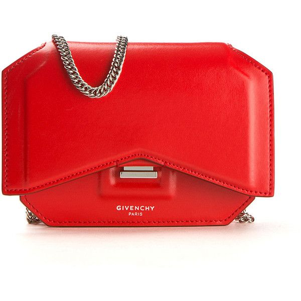 Givenchy Bow Cut Smooth Poppy Red Leather Shoulder Bag found on Polyvore featuring bags, handbags, shoulder bags, chain shoulder bag, red leather purse, bow handbag, leather purse and leather handbags
