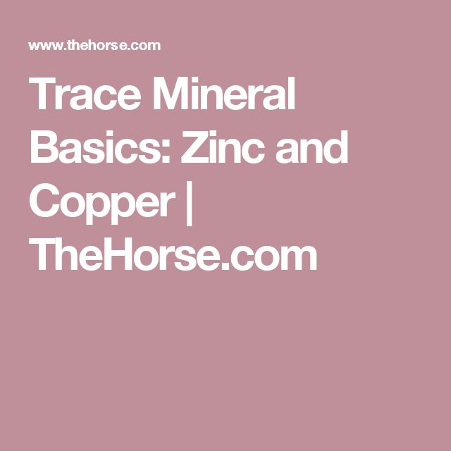 Trace Mineral Basics: Zinc and Copper | TheHorse.com