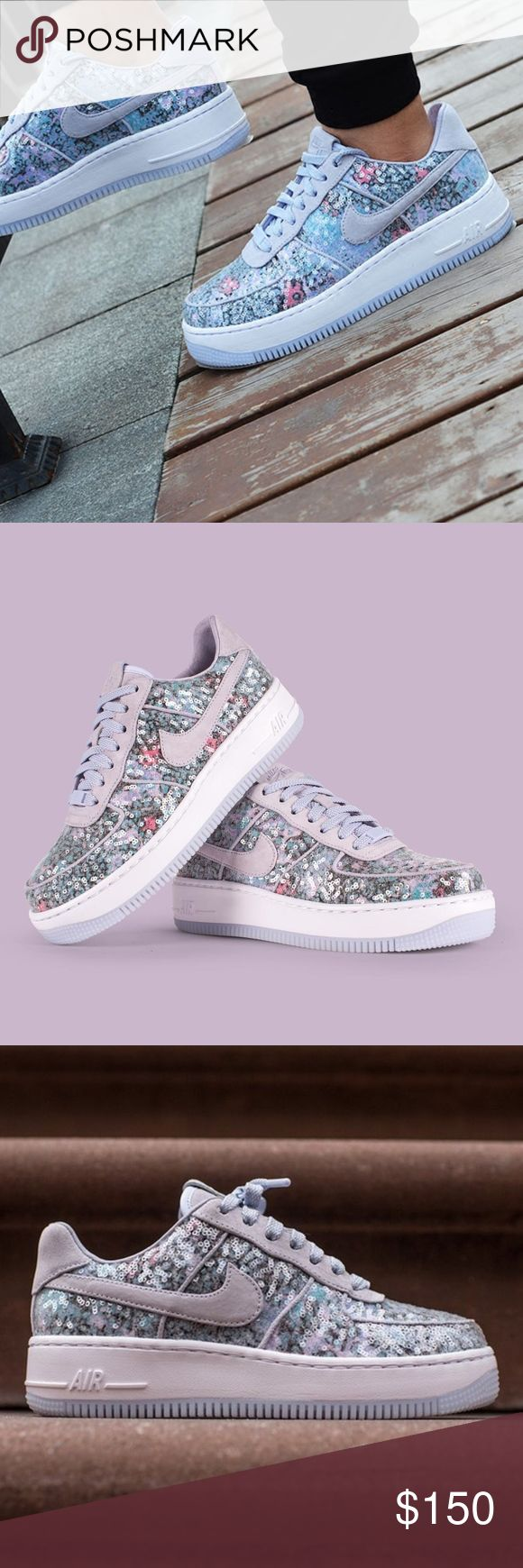 """Women's Nike Air Force 1 """"Glass Slipper"""" (Size 8) Women's Nike AIr Force 1 Upstep 35 """"Glass Slipper""""  Brand New in box 100% authentic Excellent condition Size 8 women Palest Purple/ White Color way Ships doubled boxed Secured Packaging Same day/next day shipping Nike Shoes Sneakers"""
