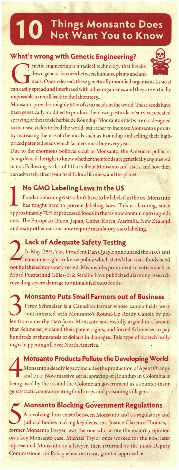 GENETICALLY MODIFIED FOOD: 10 Things Monsanto does Not want you to know .