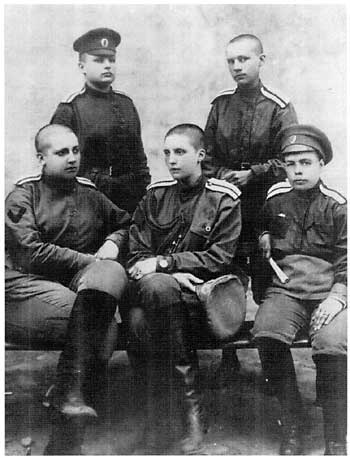 Members of the first Women's Battalion of Death - they sacrificed their hair in an accepted act to reduce sexual encounters with male battalions and to give them equality.  Russia c. 1914