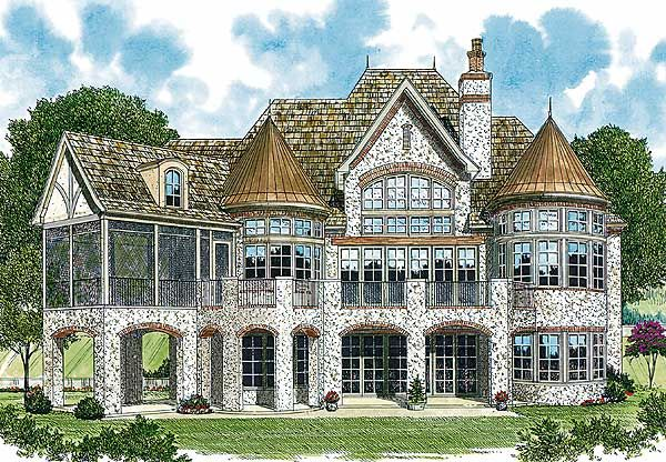 Floor Front Elevation Jersey : Plan lv french country dream home house plans