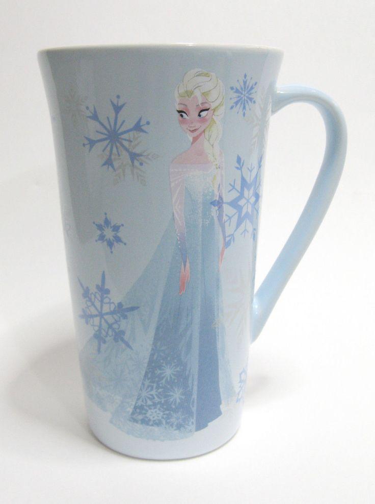 Disney Store Frozen Queen Elsa Tall 16 0z Coffee Tea Mug Official Euc Snowflake