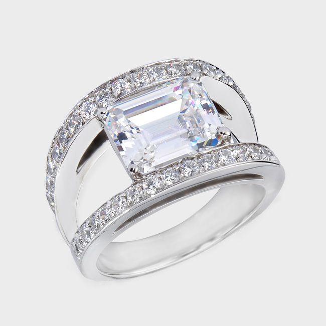 unique 3 carat diamond cocktail rings | carat classic emerald cut cubic zirconia ring set between a split ...