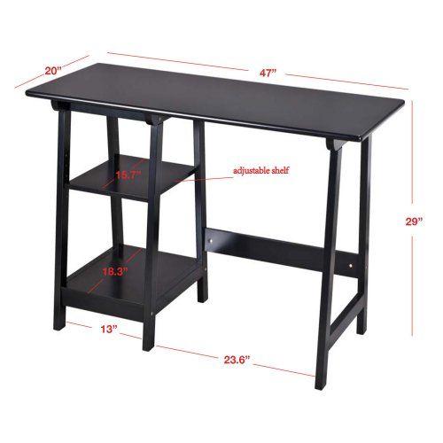 Manhattan Open Computer Desk with Adjustable Shelf - Black