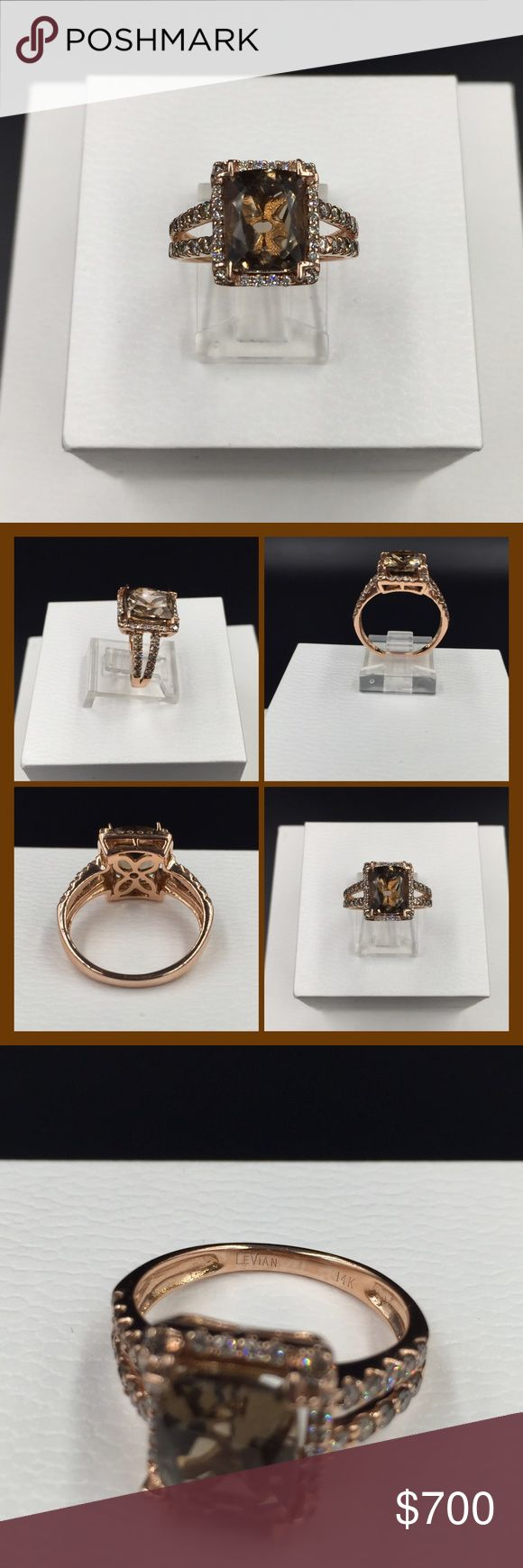 LeVian Diamond & Topaz Ring LeVian Chocolate Diamond & smoky topaz ring, size 6.75.  Diamond weight is 1/2 ct. Cushion cut smoky topaz measures 10mm x 8mm. 14K rose gold. Excellent condition. Original paperwork not available. No trades or off Poshmark transactions. Thanks and happy Poshing!! LeVian Jewelry Rings