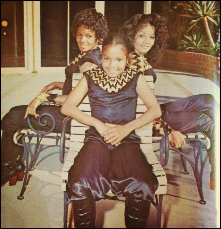 70's Flashback of Rebbie, La Toya, and Janet Jackson in costume.