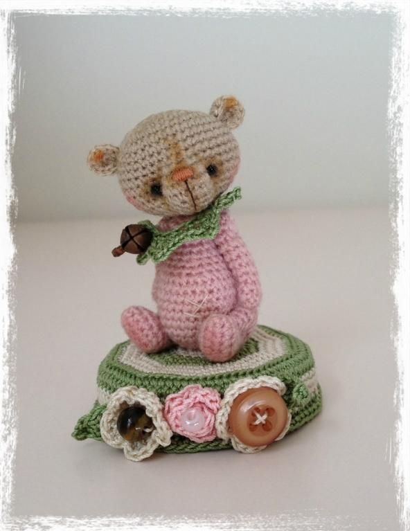 Looking for crocheting project inspiration? Check out Pink Peppermint Mini Thread Artist Bear  by member TheTinyToyBox. - via @Craftsy ♡