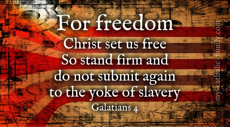 Today's Mass readings: For freedom Christ set us free; so stand firm and do not submit again to the yoke of slavery. http://www.my-catholic-family.com/4784/freedom-christ-set-us-free/
