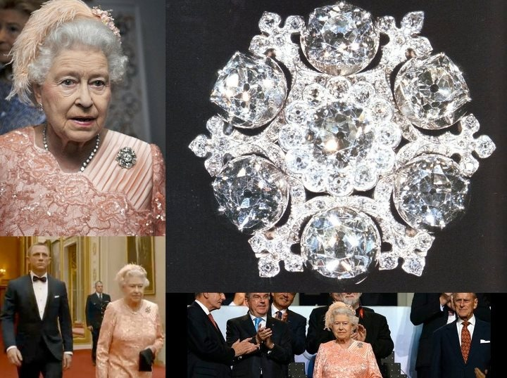 During the opening ceremony of London 2012 Olympics. Queen Elizabeth II wore 'The King William IV' Brooch. Also referred as Queen Adelaide Brooch, it was given to her in 1948, the last time London hosted the Olympics and four years before her accession to the throne.