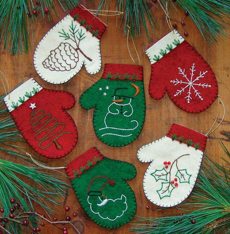 Rachel's Of Greenfield Mittens Ornament KitSet Of Six