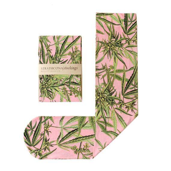 Marijuana Socks Pink by StrathconaStockings on Etsy, $36.00