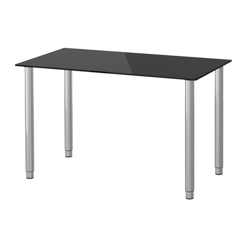 GLASHOLM / OLOV Mesa - vidrio negro/gris plata - IKEA