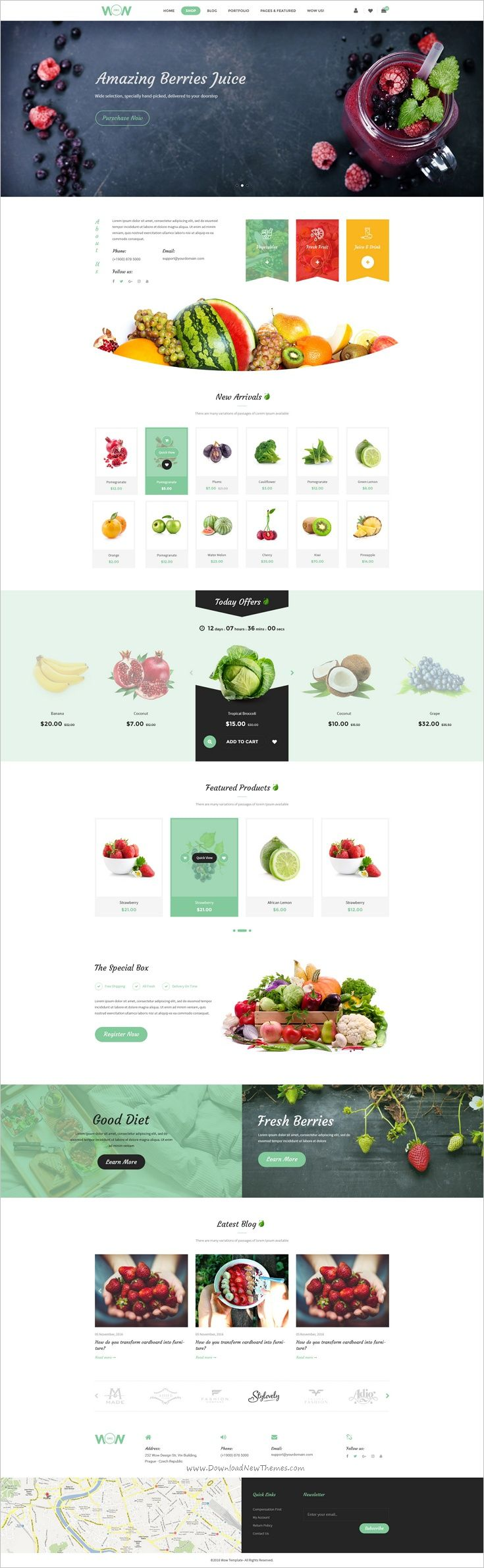 Wow is a modern and creative #PSD #template for #organic #food shop multipurpose eCommerce website with 16 homepage layouts and 47 organized PSD pages download now➩ https://themeforest.net/item/wow-multistore-psd-template/18829126?ref=Datasata