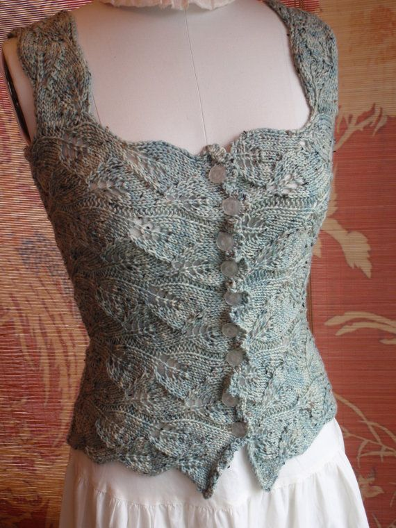 Romantic Victorian Style Sea glass Hand Knit Lace Corset Bodice Bohemian Renaissance Steampunk Goth Wedding on Etsy, $167.00