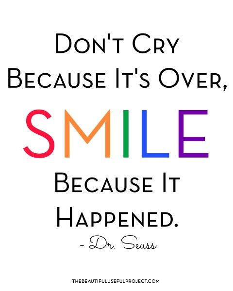 Free Printable - Dr. Seuss Quote! Don't Cry Because It's Over, Smile Because It Happened!