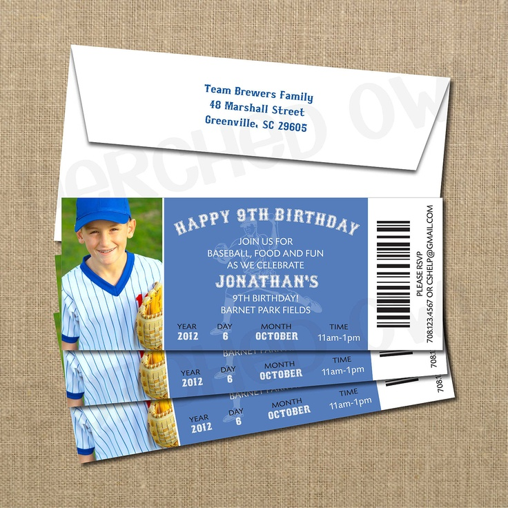 Look @Anna Totten Totten acevedo! Baseball Birthday Game Ticket Invitation. $15.00, via Etsy.This board has super cute baseball party stuff.....Cute for the little ones...