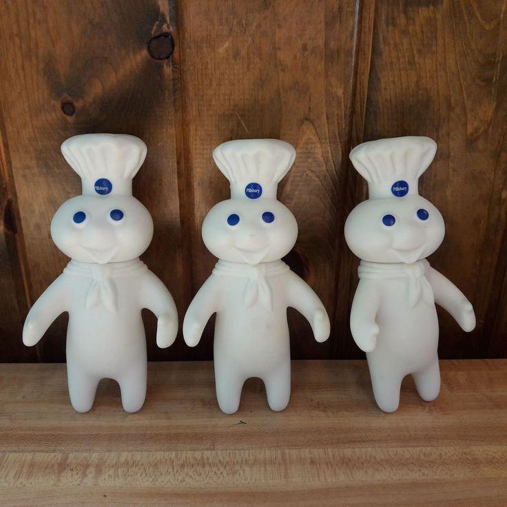 3 Vintage Pillsbury Rubber Doughboys Dated 1971