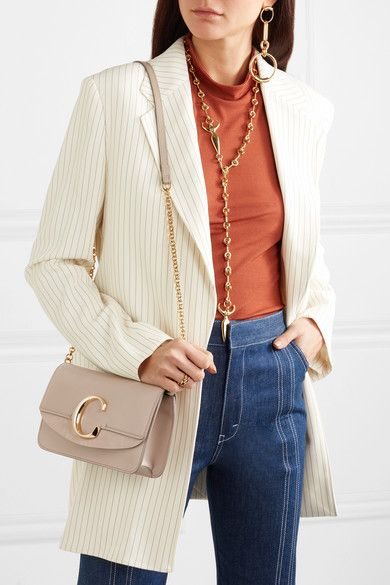 1657953aeb Chloé - Chloé C mini suede-trimmed leather shoulder bag ...