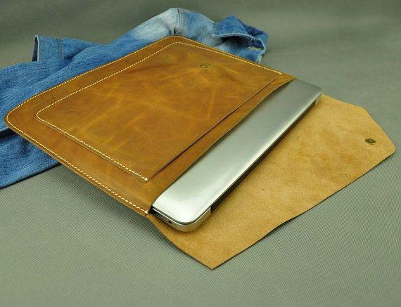 Leather 11inch Macbook Sleeve Macbook Case Macbook Bag by ZzzSun