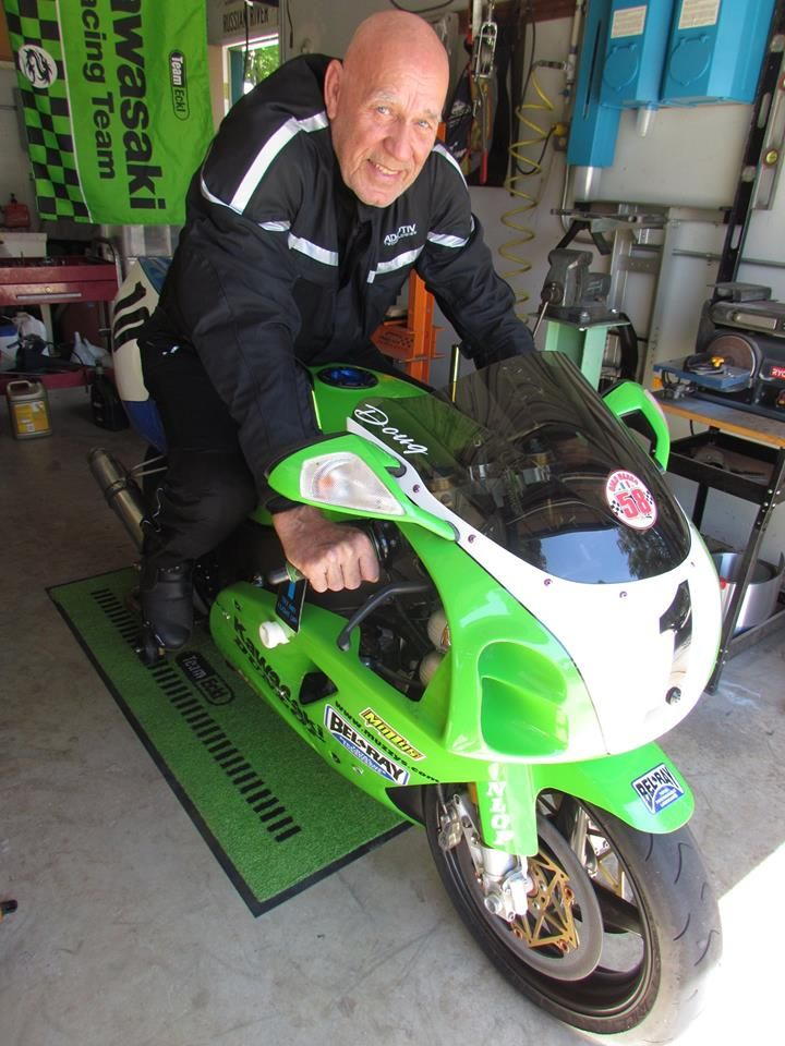 Marvin in his #GlowRider Jacket and the trophy winning #Kawasaki #ZX7R #AdaptivTech