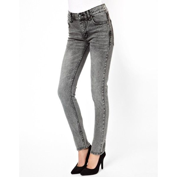 Cheap Monday Tight Skinny Jeans ($40) ❤ liked on Polyvore featuring jeans, pants, grey, skinny jeans, stretch jeans, high waisted jeans, super high-waisted skinny jeans and skinny fit jeans