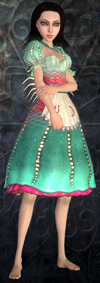 Alice's Siren dress from the game 'Alice: The Madness Returns'. It's mostly looking at the lighting in the dress that I am interested in, and plenty of net to give it that weightless look.