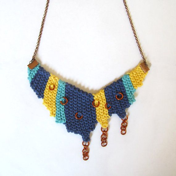 Asymmetric necklace,fiber necklace,cotton necklace,boho necklace,copper necklace,gypsy,blue,yellow,turquoise,spring,summer,gift for her  An