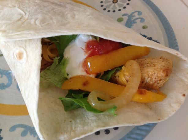 Yummy fajita recipe - made it with beef tonight. Subbed orange juice for the lime juice - delicious!