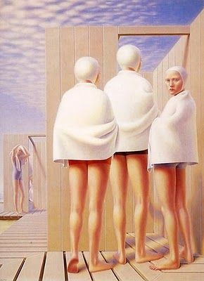 George Tooker, Bathers, 1950. George Clair Tooker, Jr. was an American figurative painter whose works are associated with the Magic realism and Social realism movements
