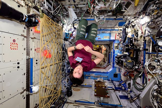 Astronaut Samantha Cristoforetti celebrating 100 days in space - with a message to Scott Kelly about his one-year mission wardrobe